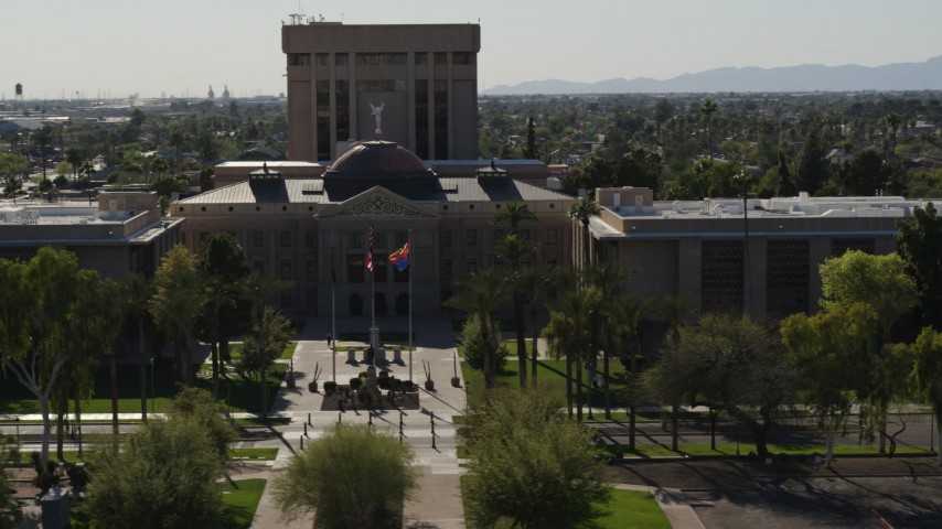 5.7K stock footage aerial video of orbiting the Arizona State Capitol building in Phoenix, Arizona Aerial Stock Footage | DX0002_137_060