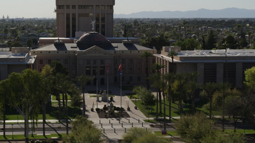 5.7K stock footage aerial video of an orbit of the Arizona State Capitol building in Phoenix, Arizona Aerial Stock Footage | DX0002_137_061