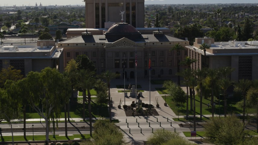 5.7K stock footage aerial video of a reverse view of the Arizona State Capitol building in Phoenix, Arizona Aerial Stock Footage | DX0002_137_063
