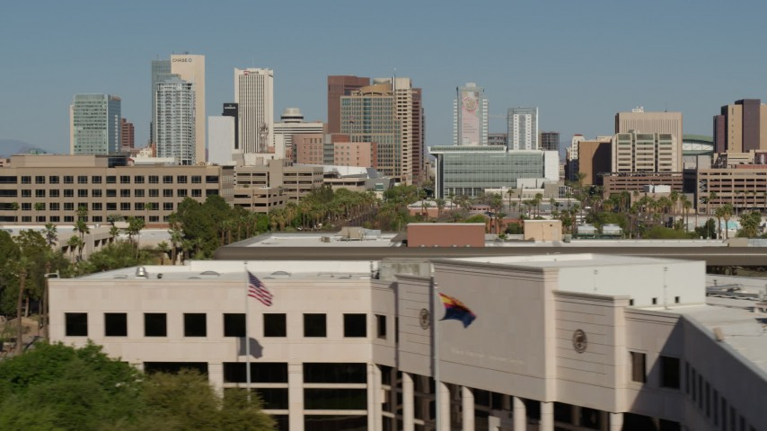 5.7K stock footage aerial video of towering office buildings, seen from the Supreme Court in Downtown Phoenix, Arizona Aerial Stock Footage | DX0002_137_070