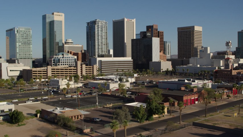 5.7K stock footage aerial video a view of the city's high-rise office buildings in Downtown Phoenix, Arizona Aerial Stock Footage   DX0002_138_011