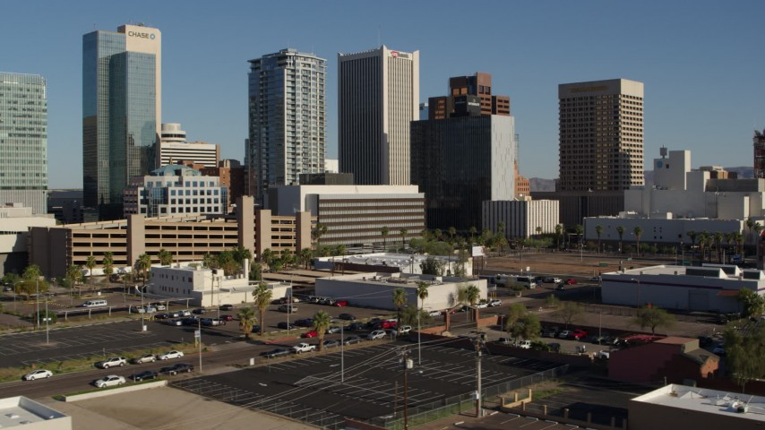 5.7K stock footage aerial video slowly flying by the city's high-rise office buildings in Downtown Phoenix, Arizona Aerial Stock Footage | DX0002_138_012
