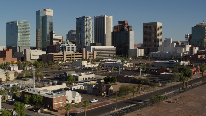 5.7K stock footage aerial video a reverse view of the city's high-rise office buildings in Downtown Phoenix, Arizona Aerial Stock Footage | DX0002_138_015