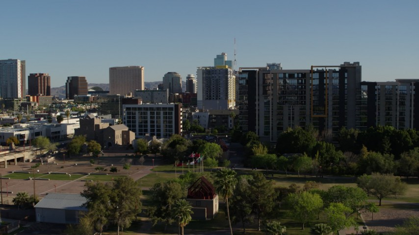 5.7K stock footage aerial video of cultural center, hotel and condo complex in Downtown Phoenix, Arizona Aerial Stock Footage | DX0002_138_018