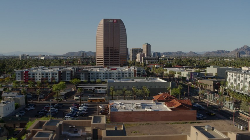 5.7K stock footage aerial video of BMO Tower high-rise office building in Phoenix, Arizona Aerial Stock Footage | DX0002_138_027