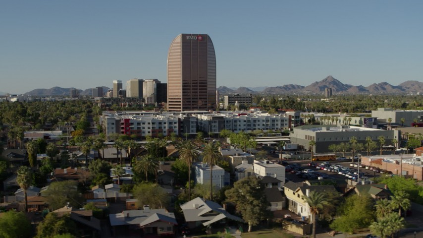 5.7K stock footage aerial video of orbiting the BMO Tower high-rise office building in Phoenix, Arizona Aerial Stock Footage | DX0002_138_028