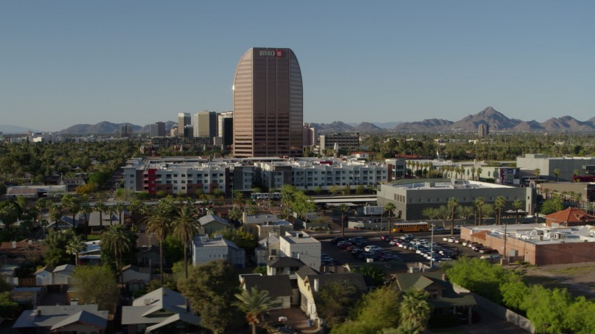 5.7K stock footage aerial video of a wide orbit of the BMO Tower high-rise office building in Phoenix, Arizona Aerial Stock Footage | DX0002_138_029