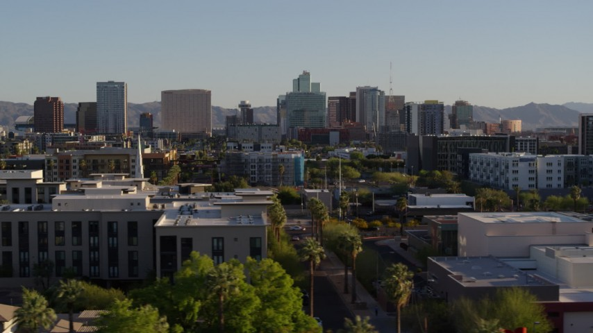 5.7K stock footage aerial video of a view of high-rise office buildings in Downtown Phoenix, Arizona Aerial Stock Footage | DX0002_138_030