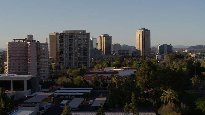 5.7K stock footage aerial video of high-rise apartment buildings near tall office buildings in Phoenix, Arizona Aerial Stock Footage | DX0002_138_040