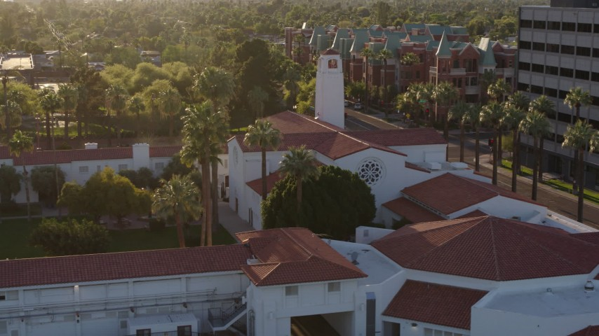 5.7K stock footage aerial video of orbiting a church in Phoenix, Arizona Aerial Stock Footage | DX0002_138_041