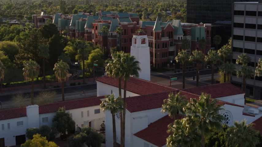 5.7K stock footage aerial video of orbiting a church steeple in Phoenix, Arizona Aerial Stock Footage | DX0002_138_042