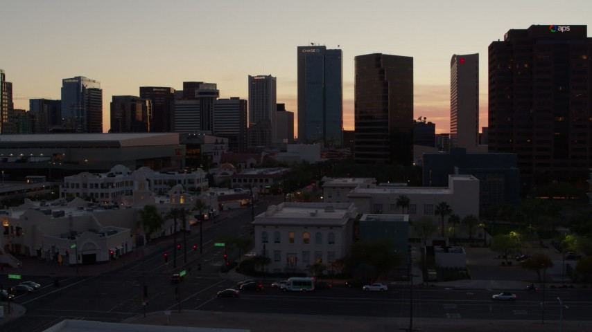5.7K stock footage aerial video of tall office buildings at sunset in Downtown Phoenix, Arizona Aerial Stock Footage | DX0002_139_004