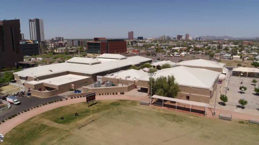 5.7K stock footage aerial video of orbiting a charter school in Downtown Phoenix, Arizona Aerial Stock Footage | DX0002_140_001