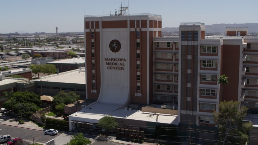 5.7K stock footage aerial video of orbiting the Maricopa Medical Center in Phoenix, Arizona Aerial Stock Footage | DX0002_140_017