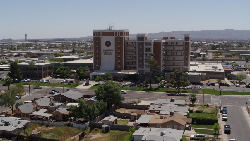 5.7K stock footage aerial video circling the Maricopa Medical Center, Phoenix, Arizona Aerial Stock Footage | DX0002_140_019