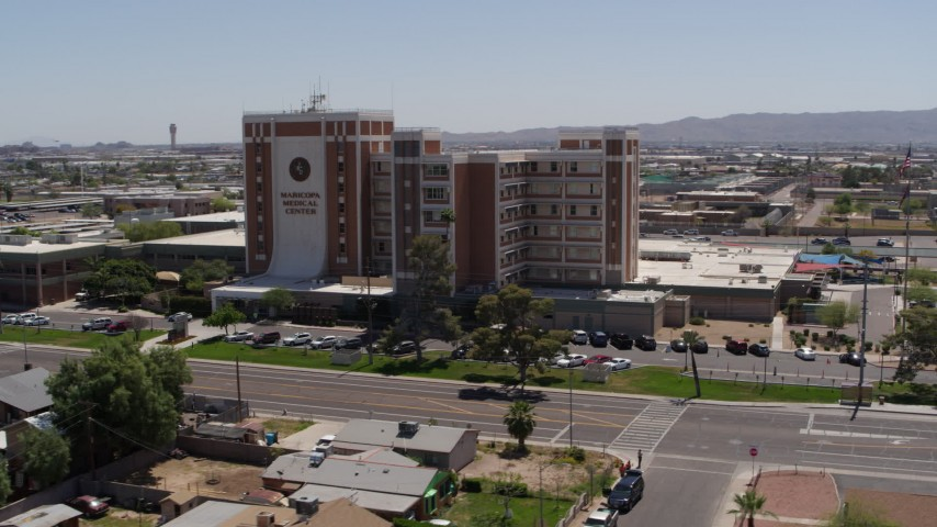 5.7K stock footage aerial video of orbiting a hospital complex in Phoenix, Arizona Aerial Stock Footage | DX0002_140_020
