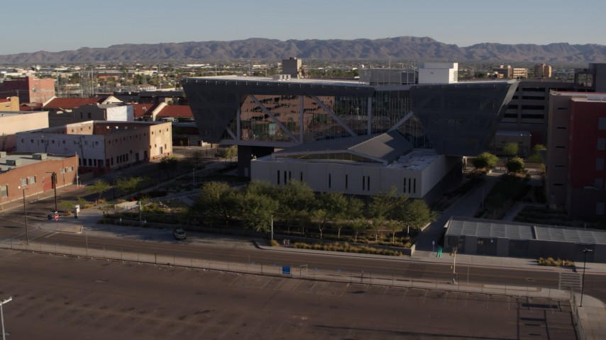 5.7K stock footage aerial video of orbiting the Maricopa County Sheriff's Office at sunset in Downtown Phoenix, Arizona Aerial Stock Footage | DX0002_142_026