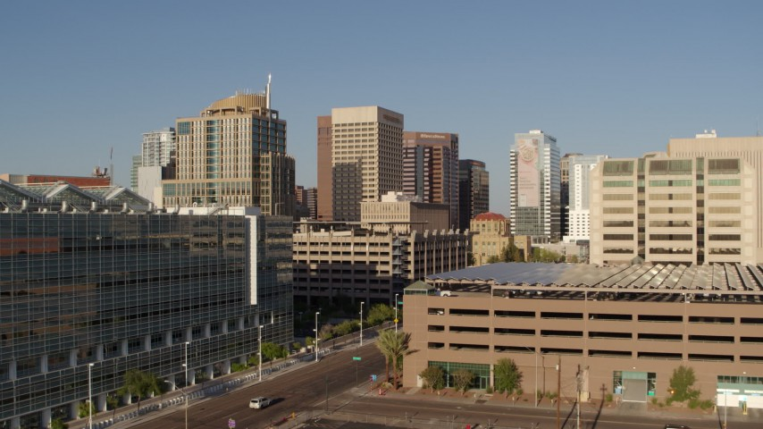 5.7K stock footage aerial video approach a group of high-rise office buildings in Downtown Phoenix, Arizona Aerial Stock Footage | DX0002_142_041