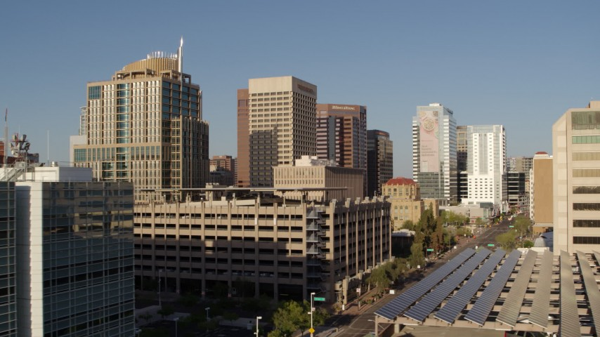 5.7K stock footage aerial video a group of high-rise office buildings, Downtown Phoenix, Arizona Aerial Stock Footage | DX0002_142_042