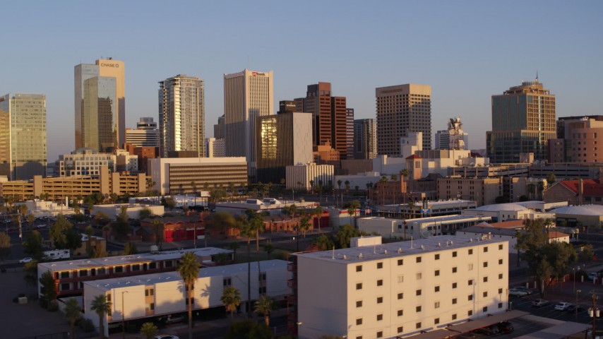 5.7K stock footage aerial video of a view of the city's skyline at sunset, Downtown Phoenix, Arizona Aerial Stock Footage DX0002_143_030 | Axiom Images