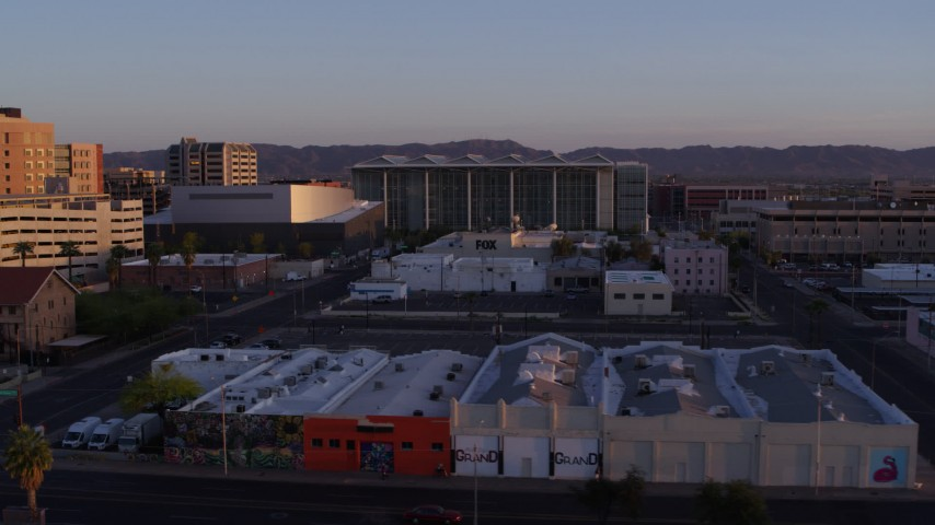 5.7K stock footage aerial video of a performing arts theater, federal courthouse and TV station at sunset, Downtown Phoenix, Arizona Aerial Stock Footage | DX0002_143_038