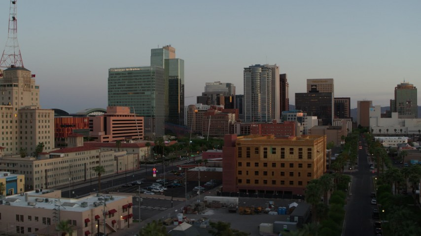 5.7K stock footage aerial video of tall office towers at sunset, Downtown Phoenix, Arizona Aerial Stock Footage | DX0002_143_044
