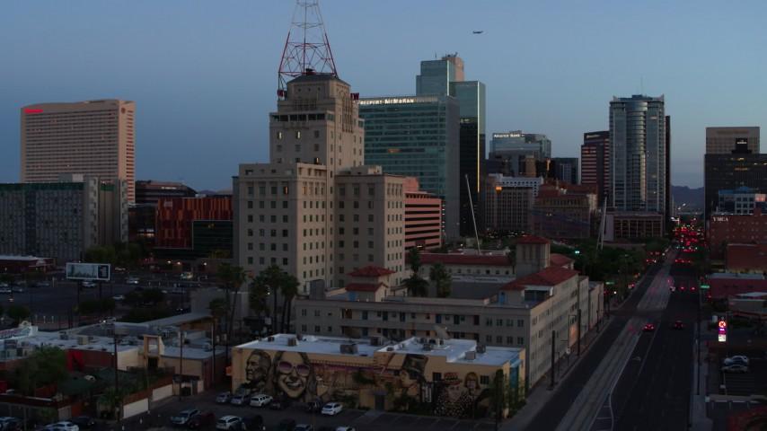 5.7K stock footage aerial video orbit Westward Ho building at twilight, Downtown Phoenix, Arizona Aerial Stock Footage   DX0002_143_055