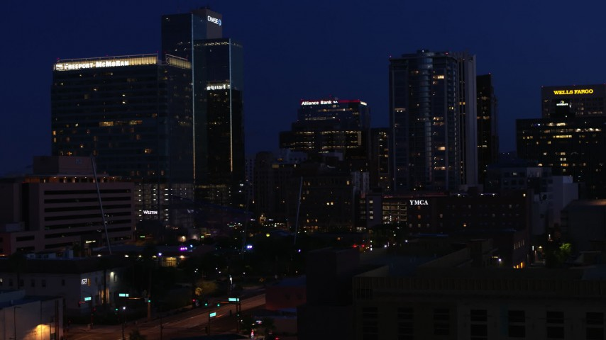 5.7K stock footage aerial video of high-rise office buildings at twilight, Downtown Phoenix, Arizona Aerial Stock Footage | DX0002_143_069