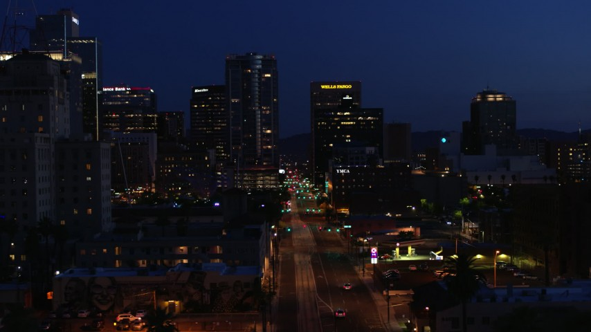 5.7K stock footage aerial video slowly passing by 1st Avenue and high-rise office towers at twilight, Downtown Phoenix, Arizona Aerial Stock Footage | DX0002_143_072