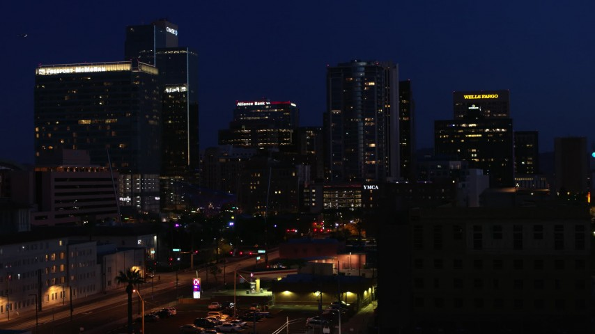 5.7K stock footage aerial video high-rise office towers at twilight, seen during descent, Downtown Phoenix, Arizona Aerial Stock Footage | DX0002_143_074