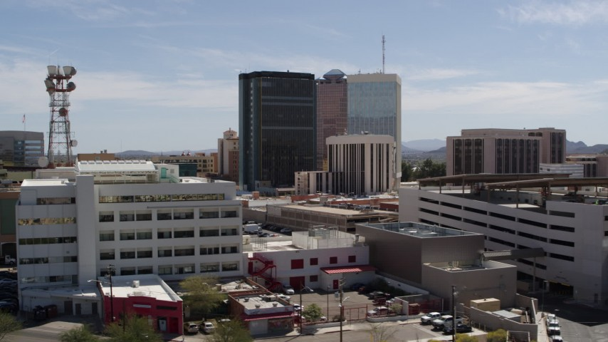 5.7K stock footage aerial video of high-rise office buildings in Downtown Tucson, Arizona Aerial Stock Footage | DX0002_144_001