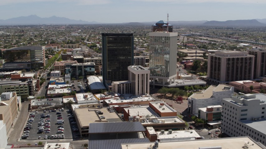 5.7K stock footage aerial video of a wide orbit of office high-rise buildings in Downtown Tucson, Arizona Aerial Stock Footage | DX0002_144_004
