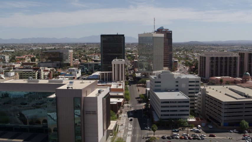 5.7K stock footage aerial video of orbiting three high-rise office buildings in Downtown Tucson, Arizona Aerial Stock Footage | DX0002_144_005