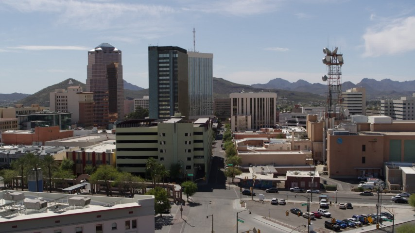 5.7K stock footage aerial video of orbiting a trio of high-rise office buildings in Downtown Tucson, Arizona Aerial Stock Footage DX0002_144_006
