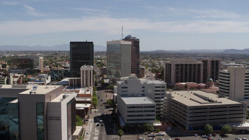 5.7K stock footage aerial video orbiting high-rise office towers in Downtown Tucson, Arizona Aerial Stock Footage | DX0002_144_011