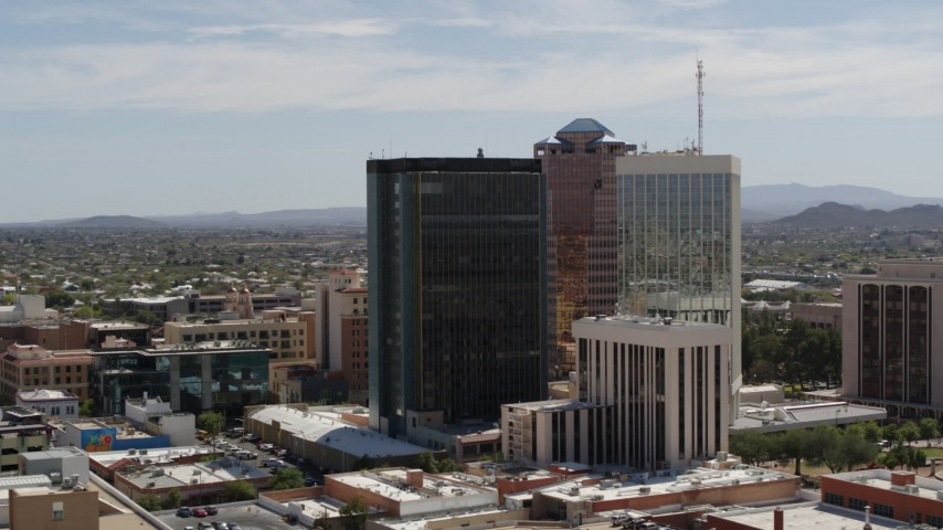 5.7K stock footage aerial video orbit tall office towers in the middle of Downtown Tucson, Arizona Aerial Stock Footage | DX0002_144_019