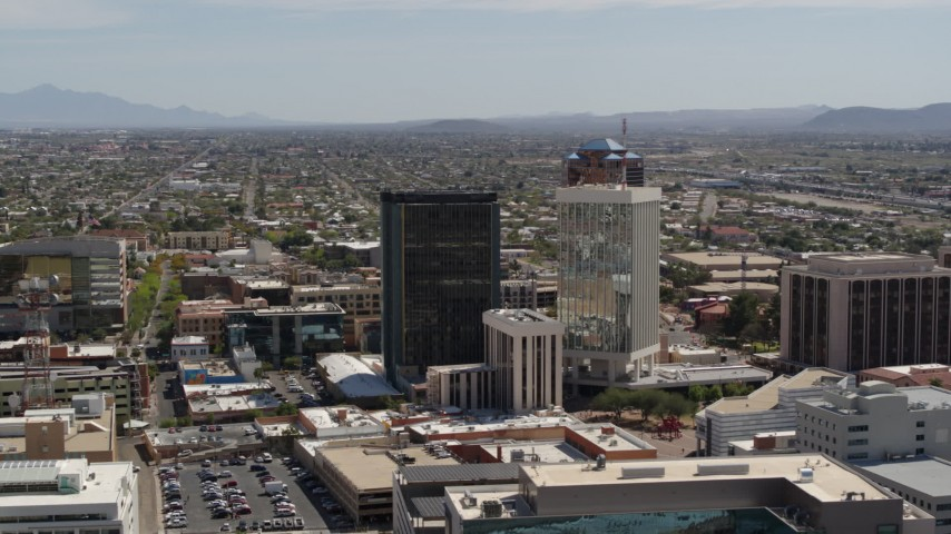 5.7K stock footage aerial video of a wide orbit around tall high-rise office towers, Downtown Tucson, Arizona Aerial Stock Footage | DX0002_144_023