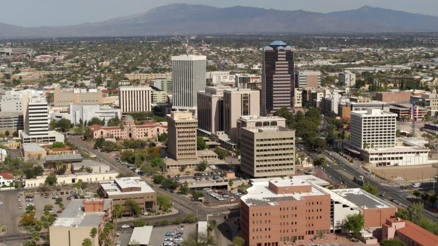 5.7K stock footage aerial video of passing by tall high-rise office towers and city buildings in Downtown Tucson, Arizona Aerial Stock Footage | DX0002_144_028