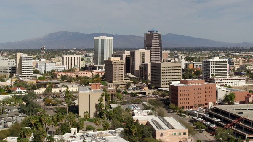 5.7K stock footage aerial video of tall high-rise office towers and city buildings in Downtown Tucson, Arizona Aerial Stock Footage | DX0002_144_030