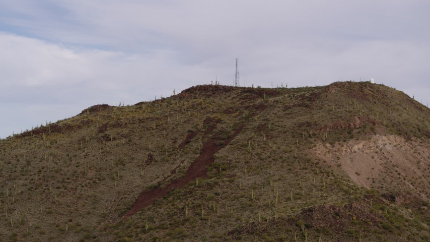 5.7K stock footage aerial video approach radio tower on top of Sentinel Peak in Tucson, Arizona Aerial Stock Footage | DX0002_145_010