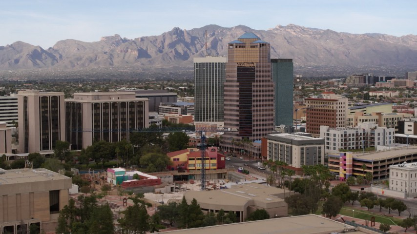 5.7K stock footage aerial video orbit One South Church office high-rise in Downtown Tucson, Arizona Aerial Stock Footage | DX0002_145_015