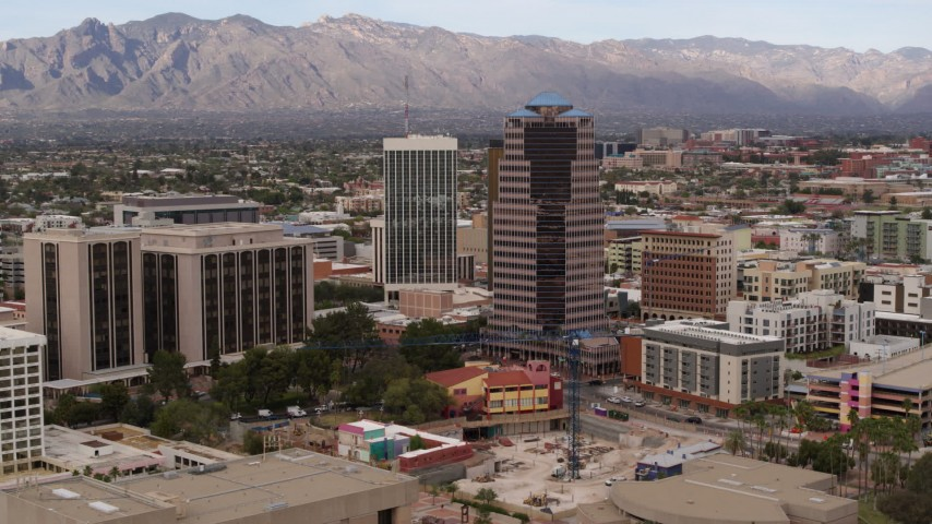 5.7K stock footage aerial video orbit One South Church office high-rise, reveal Bank of America Plaza, Downtown Tucson, Arizona Aerial Stock Footage | DX0002_145_016