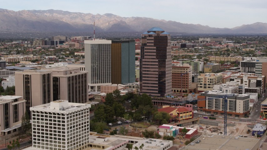 5.7K stock footage aerial video orbit One South Church near office high-rises, Downtown Tucson, Arizona Aerial Stock Footage | DX0002_145_017