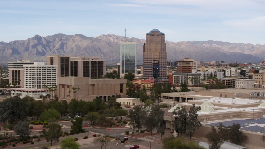 5.7K stock footage aerial video ascend and approach One South Church office building, Downtown Tucson, Arizona Aerial Stock Footage | DX0002_145_023