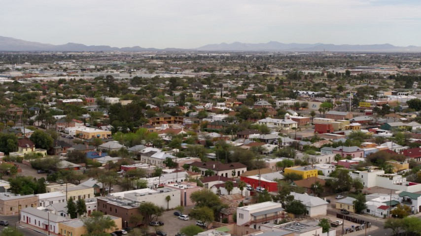 5.7K stock footage aerial video of an urban neighborhood in Tucson, Arizona Aerial Stock Footage | DX0002_145_024