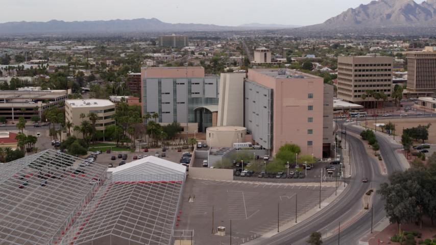 5.7K stock footage aerial video of orbiting a district court building in Downtown Tucson, Arizona Aerial Stock Footage | DX0002_145_027