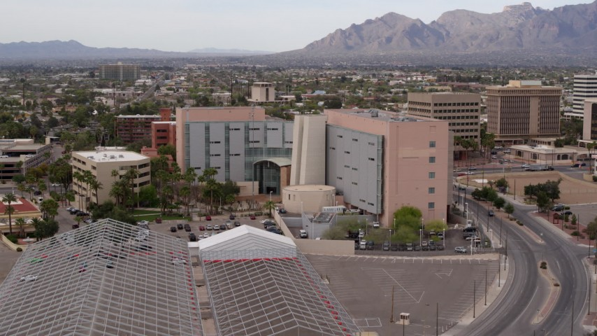 5.7K stock footage aerial video approach and orbit a district court building in Downtown Tucson, Arizona Aerial Stock Footage | DX0002_145_031