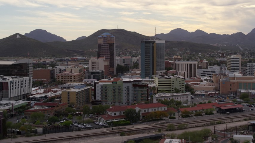 5.7K stock footage aerial video of orbiting office towers with Sentinel Peak in the background, Downtown Tucson, Arizona Aerial Stock Footage | DX0002_145_032