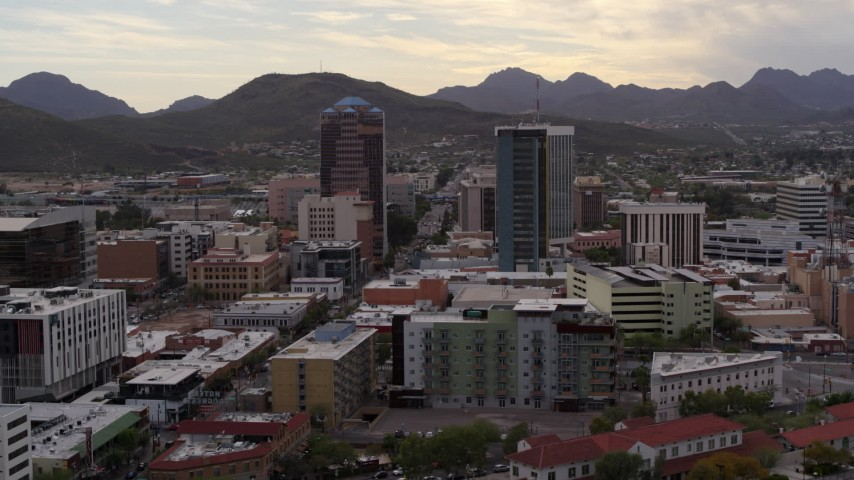 5.7K stock footage aerial video orbit and approach office towers with Sentinel Peak in the background, Downtown Tucson, Arizona Aerial Stock Footage | DX0002_145_033