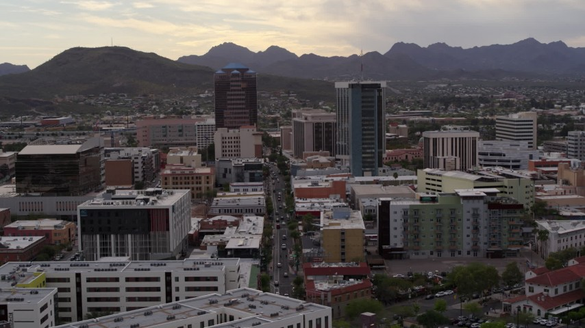 5.7K stock footage aerial video approach office towers and Congress Street in Downtown Tucson, Arizona Aerial Stock Footage | DX0002_145_040